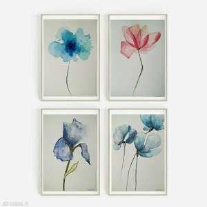 cztery akwarele-kwiaty, akwarela, papier, kwiaty, unikalny
