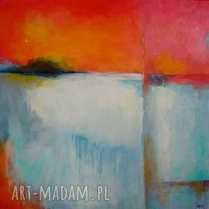 obraz na płótnie - abstrakcja 40/40 cm, abstrakcja, biel, szary, czerwień