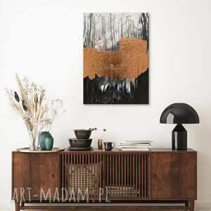 ręcznie wykonany obraz abstrakcja - biało czarny z elementami miedzi, 100x70
