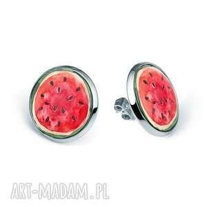 kolczyki sztyfty z grafiką arbuz, kawon, śmieszne, melon, prezent, owocowe