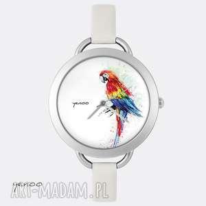Prezent Zegarek - Czerwona papuga, zegarek, bransoletka, skórzany, tropikalny