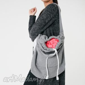 na ramię torba dzianinowa worek szaro-koralowa, worek, duża, pojemna, dzianinowa