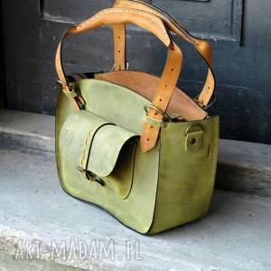 kuferek damski ręcznie wykonany z wysokiej jakości naturalnej skóry limonkowy rozmiar