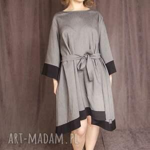 Sukienka z dłuższymi bokami, boki, szerokie, rękawy, wiazana