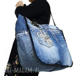 na ramię duża torba upcykling jeans 80, jeans, recykling