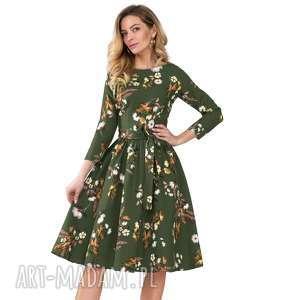 sukienka marie 3/4 midi oliwia, kwiaty, wiązanka, midi, marszczenia, rozkloszowana