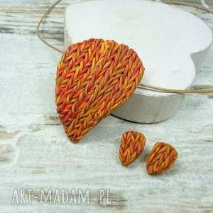 Prezent Jesienny komplet biżuterii w odcieniach pomarańczy, biżuteria-jesień