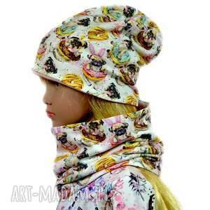 hand-made psy kremowa czapka z kominem dla dziewczynki, rozmiary 0 -8 lat