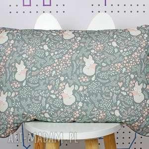 nuvaart płaska poduszka do łóżeczka śpiący lisek -szary, poduszka, płaska, komplet