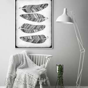 piórka a3, plakat, ilustracja, pióra, piórka, szare, sztuka