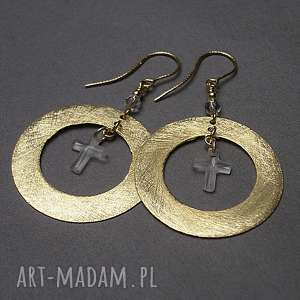 wyjątkowy prezent, circle -cross - kolczyki, srebro pozłacane, koła, krzyż, swarovski