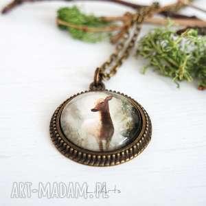 medalion, naszyjnik - sarna antyczny brąz, naszyjnik, leśny
