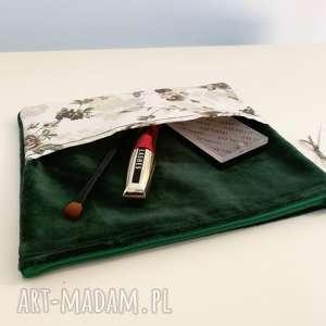 aksamitna kosmetyczka vintage, kosmetyczka, kwiaty, aksamit, zielona