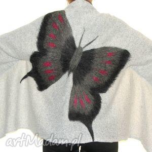 feltrisimi narzutka wełną zdobiona , filcowanie, motyle, prezent, dzianina ubrania
