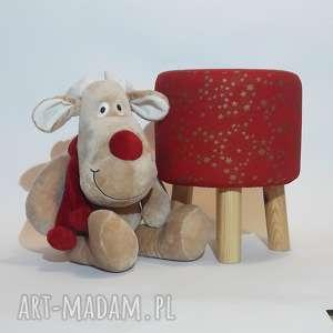prezenty pod choinkę Pufa Złote Gwiazdki - 36 cm, puf, stołek, boże-narodzenie