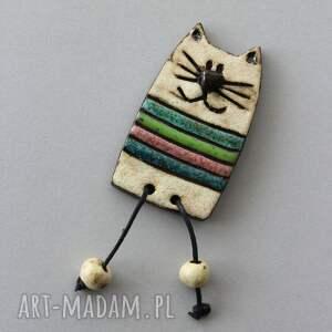 KOPALNIA CIEPLA: kiciuś - broszka ceramiczna (kociara, skandynawski design, jeansy, minimalizm, prezent)