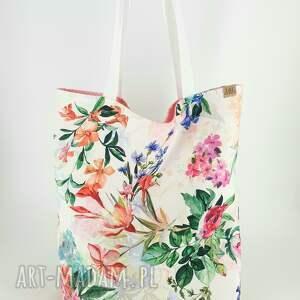 handmade piękna shopperka torba ekologiczna w malowane kwiaty
