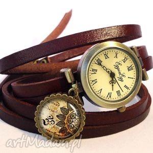 egginegg mandala - zegarek bransoletka na skórzanym pasku - romantyczny