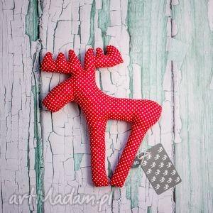 handmade maskotki zabawka pan łosiek - truskawkowo w groszki