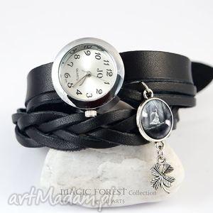 zegarki bransoletka, zegarek - magiczny las czarny, koniczynka, bransoletka
