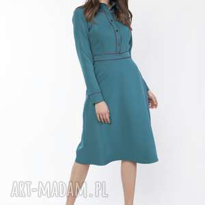 sukienka elegancka z kołnierzykiem, suk167 morski, sukienka, morska, drees, midi