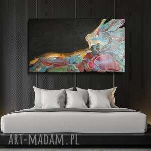 obraz ręcznie malowany - tęczowa lawina 140x80