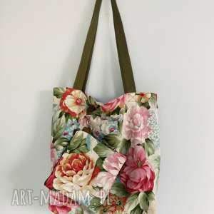 handmade na ramię torba xxl kwiaty kosmetyczka