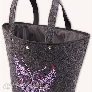 filcowa torebka - koszyk motyl fiolet t6302, kosz, torebka, filcowa, motyl, haft