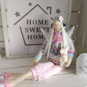 hand-made lalki anioł tilda pamiątka na chrzest święty