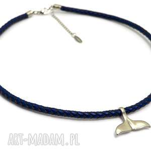 naszyjnik męski rzemień i stal wales tale navy blue, męski