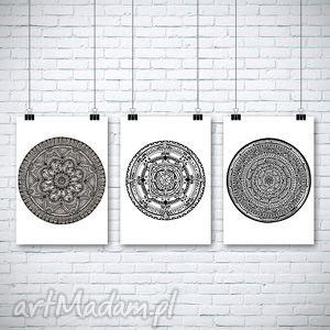 zestaw 3 prac, plakat, mandala grafika, oryginalny prezent