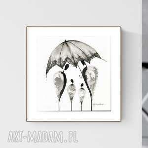 grafika 30x30 cm wykonana ręcznie, abstrakcja, elegancki minimalizm, obraz