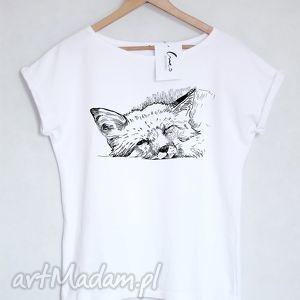 lis koszulka bawełniana biała l/xl, koszulka, bluzka, t shirt, nadruk, bawełna, lis
