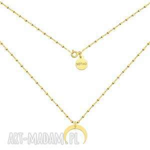złoty naszyjnik z księżycem - łańcuszek, srebro925