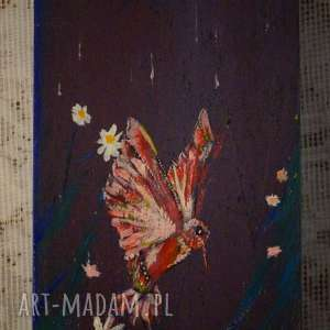 koliber nocny - drewniane pudełko ręcznie malowane - księżyc