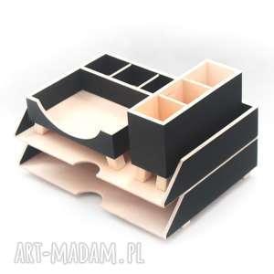pudełka organizer na biurko czarny - 4 przyborniki biurko