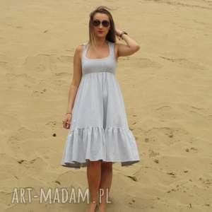 handmade sukienki dzianinowa sukienka z falbaną, midi
