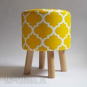 Pufa Koniczyna Maroco Żółto - Biała, puf, stołek, taboret, ryczka, dziecko
