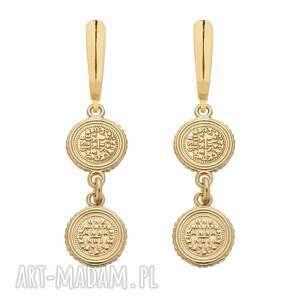 złote kolczyki z monetami - pozłacane, wiszące, eleganckie