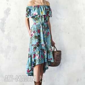 Sukienka z falbaną w kwiaty, midi, wiskoza, rozkloszowana, wesele,
