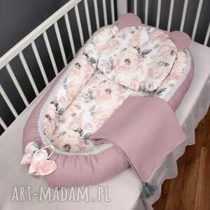 handmade pokoik dziecka wafelek kokon zestaw niemowlęcy 3 el. Peonie jasne