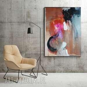 Duża abstrakcja z różem 100x70 galeria alina louka do salonu