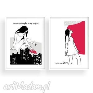 czasem wszystko dwie ilustracje, poetyckie, kobieta, dekoracja, a4