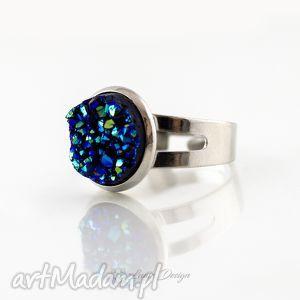 pierścionek niebieski druzy, pierścionek, świecący, regulowany, prezent