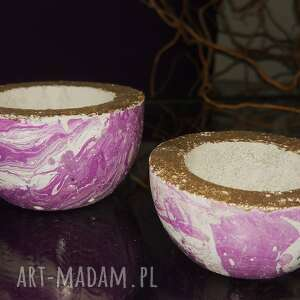 Zestaw 2 świeczników z betonu, fioletowy dekoracje shibui studio