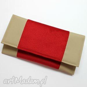 Kopertówka - cappuccino i środek tkanina czerwona, kopertówka, elegancka, nowoczesna