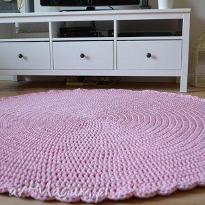 Ręcznie robiony szydełkowy dywan sweet pink, crrochet, sznurek, rękodziewło,