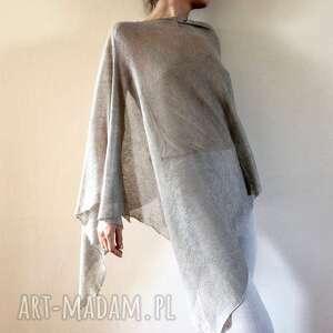 eleganckie ponczo lniane w naturalnym kolorze, ponczo, sweter, narzutka
