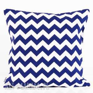 poduszki poduszka zygzak navy blue 50x50cm od majunto, poduszka