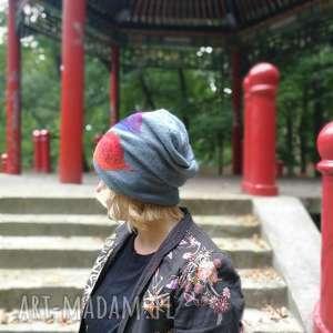 czapka wełniana filcowana niebieska na podszewce - wełna, czapka, etno, boho